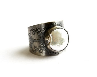 Sterling Silver White Freshwater Pearl Wide Band Ring. Filigree Ring. Cigar Band Ring. Sterling Silver Ring Size 7