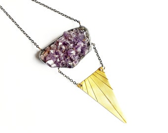Amethyst Druzy And Brass Triangle Necklace. Rough Amethyst Necklace. Chunky Long Rough Stone Necklace. Raw Crystal Necklace. Drusy Crystal