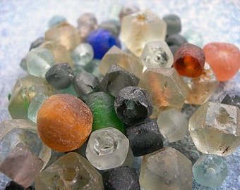 Recycled Bottle Glass Beads Ghana Africa assortment lot of 60+ from 10mm to 15mm