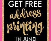 FREE ADDRESS PRINTING - Promotion for new orders placed in June