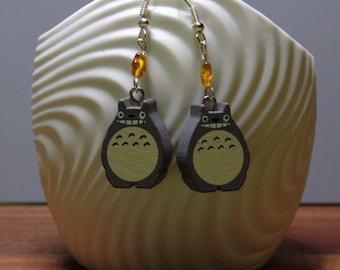 Totoro earrings with silver earwire