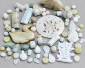Green Aqua Gemstone Bead Lot - serpentine , olive jade , aventurine , amazonite - assorted gem beads