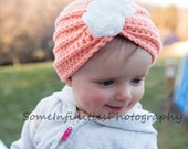 Baby Crochet Pattern for Lily Turban Hat Beanie Cap for Infant and Toddlers Photo Prop PDF Instant Download