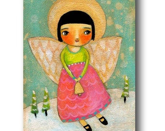 ORIGINAL acrylic painting of a CHRISTMAS angel with BELL folk art painting by Tascha