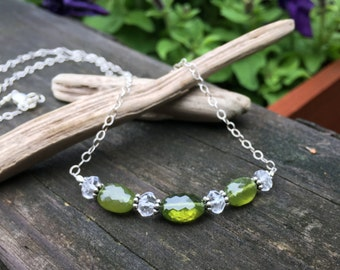 Vesuvianite, Clear Quartz, Sterling Silver, 18 Inch, Gemstone Necklace, Wire Wrap, Handmade Jewelry, Olive Green, Faceted, Clear Sparkle