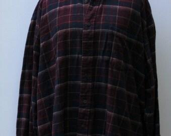 Cotton Flannel Vintage Men dark maroon navy blue Shirt, Comfy man woman shirt plaid grunge hipster 90s L large  button down shirt Hipster