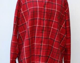 Vintage Men soft Flannel Shirt, Comfy cotton man woman shirt, big tartan plaid grunge hipster, 90s L Red large button down shirt