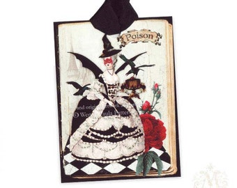 Halloween gift tags, Halloween witch, witch gift tags, Poison, Gothic, crow, Halloween party decoration, Halloween gift wrap, holiday tags