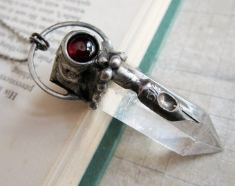 Calliope - Writer's Talisman Pendant with Quartz and Red Garnet