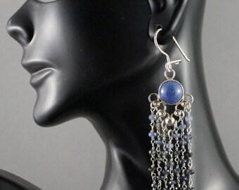 Long ombre sapphire chandelier earrings with dumotorite. Boho chic. ooak
