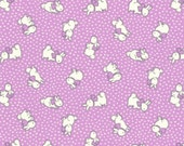 FAT QUARTER - Bunnies and Dots on PURPLE 31280-110 - Retro 30s Child Smile Collection Lecien - Bunny, Rabbit, Polka Dots, Bows, Flower