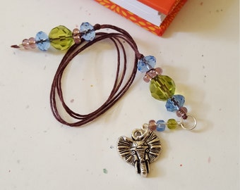 Beaded Bookmark Elephant Head/ Green, Blue, Purple/ Glass Beaded Cord With Metal Charm/ Handmade Book Thong/ Journal Marker/ Book Lover