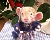 Felted Mouse Doll With Lavender Flowers,/ Heirloom, Collectible/ A Mouse Named Eloise