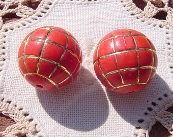 Sriracha Red Golden XLG Vintage Lucite Beads