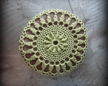 Crochet Lace Stone, Wedding, Ring Bearer, Table Decoration, Home Decor, Nature, Handmade, Green, Monicaj