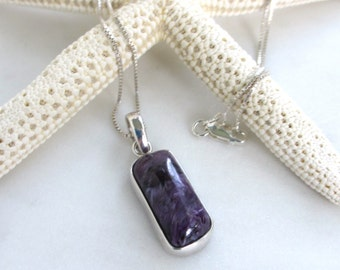 Russian Charoite Necklace, Purple Gemstone Necklace, Rich Purple Necklace, Plum Purple Stone Pendant, Simple Purple Jewelry, Elena