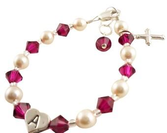 Ruby Cross Bracelet for Girls - First Communion Jewelry Gift -Baptism Bracelet - Christening, Catholic/ Religious