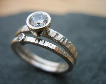 Engagement Ring Set Sterling Silver 5 mm 2 mm CZ Wedding Band Mossianite Option Solitaire  Alternative Rustic Wedding Band