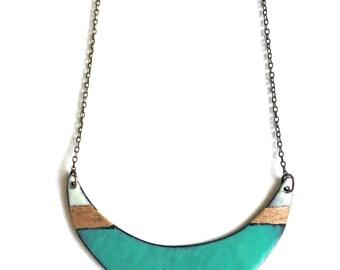 Aqua Enamel Crescent Necklace