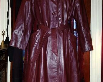 Vintage 1970's Oxblood Burgundy Leather Jacket Trench Coat Ladies Medium Large
