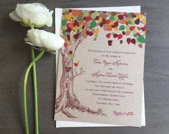 Rustic Tree Wedding Invitation - Rustic Fall Wedding Invitation, Kraft Wedding Invite, Rustic Tree Wedding Invitation