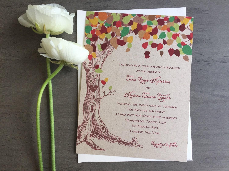 Rustic Fall Wedding Invitations: Rustic Tree Wedding Invitation Rustic Fall Wedding