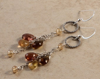 Long Dangle Gemstone Tourmaline Earrings, Champagne Crystals, Warm Earthy Fall Colors, Sterling Silver Wire Wrapped EAPP