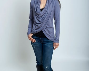 Wraparound cardigan sweater in french terry bamboo