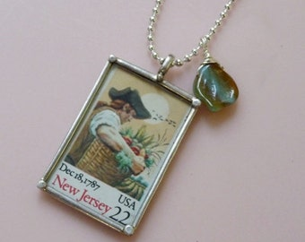 Charm Necklace with New Jersey Stamp pendant