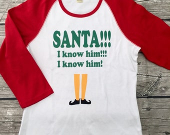 Boys unisex Girls Top 3/4 Sleeve T Shirt red Green White Holiday Christmas elf Santa movie