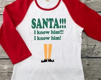 Boys unisex Girls Top 3/4 Sleeve T Shirt red Green White Holiday Christmas elf Santa movie