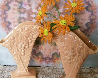 Vintage McCoy Pottery Pair of Vases Grapevine Design Peachy Color Cottage Chic 1940's