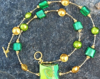 Genuine Murano All Shades of Green and Gold Lampwork Glass Necklace With Vermeil Beads and Vermeil Toggle Clasp