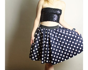 Navy Blue Polka Dot Skirt - Handmade Womens skirt - High waisted skirt - Handmade navy polka dot Skirt - Lynns Rags skirt