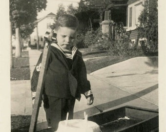 Vintage photo Little Boy Sailor Suit Birthday Cake in WAgon