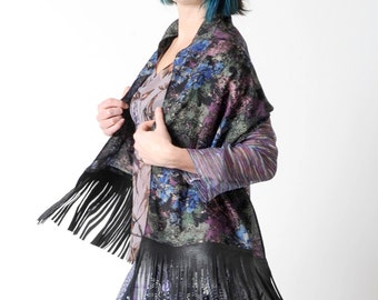 Black fringe scarf, Floral black wool scarf with leather fringes, Black and purple floral fringed shawl, Gift for women, MALAM