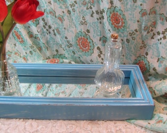 Wood Framed Aqua  Mirror Tray Vintage Shabby Chic Coastal Home Beach House Display