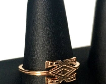 READY TO SHIP *** African Symbol Ring 14k Rose Gold Plated ( Size 8.75 only )