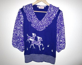 Purple Horse Sweater Blouse - Vintage 80's - Size Medium - By Assorti - Embroidered Horse Print Top