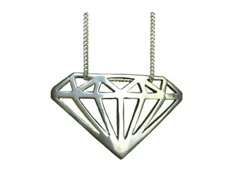 Diamond Necklace Silhouette pendant charm silver gold sterling