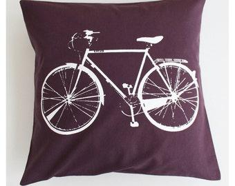 Bicycle Pillow Cover 16x16'' Purple Bike Screenprint