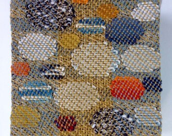 "Hand Woven Miniature tapestry, ""Small Stones #19"", museum collection by Laura Foster Nicholson"
