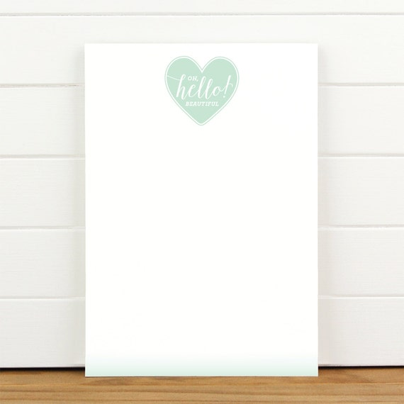 Oh Hello Beautiful Mint - 50 Sheet Everyday Notepad To Do List Motivational