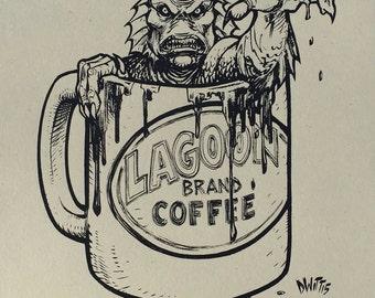 Coffee Monster 1 color variant art print