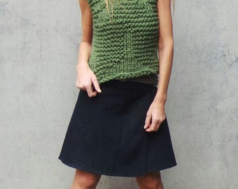 Green vest, green sweater vest, green tank, women's clothing, green top, green chunky vest, clothing