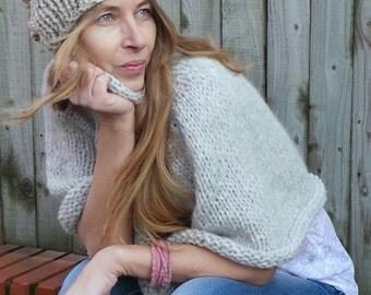 beige fleck hat, chunky beanie, hand knit hat beige beanie, chunky slouchy beanie,