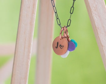 Personalized Tiny Letter & Heart Circle Necklace  {Hand Stamped Copper + Sterling Silver}
