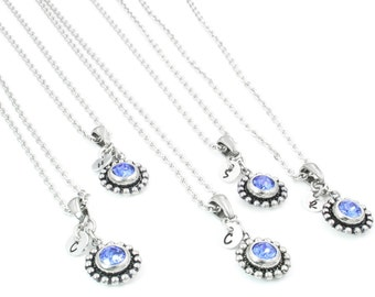 Bridesmaids Necklaces, Bridesmaids Jewelry Set, Initial Jewelry, Set of Necklaces for Wedding, Wedding Necklace Set, Bridesmaid Birthstone