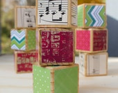 Upcycled Christmas Blocks: 3 Decoupaged Wooden Building Blocks of Red, Green, and White