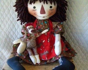 Primitive Cute Raggedy Ann type doll & sock monkey in brown and red by yellowsweetpotato